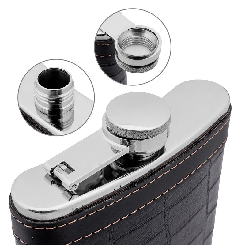 Gift Black Stainless Steel Hip Flask Liquor 9 oz, Set of 6