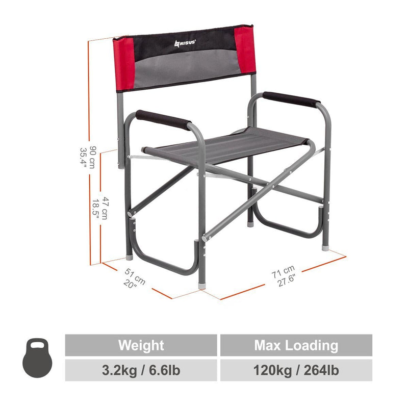 MAXI Folding Heavy-Duty Big Aluminum Director's Armchair for Camping, Outdoor, Sport Events