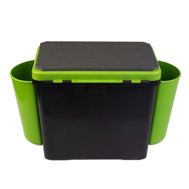 FishBox Large Ice Fishing Plastic Tackle Box with Seat, Waterproof Green Orange Tackle Box, 19L