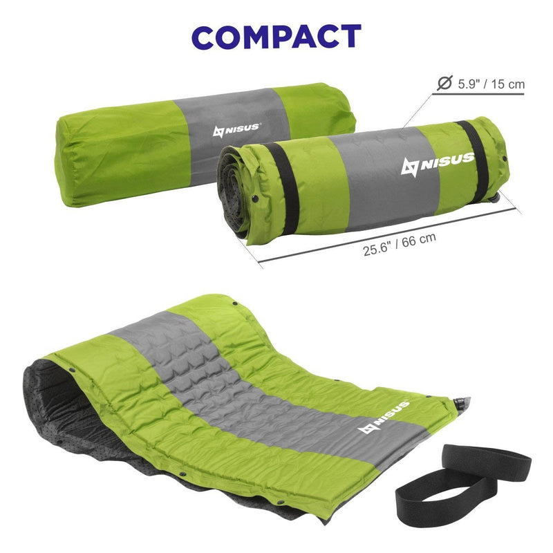 Self-Inflating Foam Pad for Backpacking, Hiking, Camping, Outdoor Sleeping Mat, Green