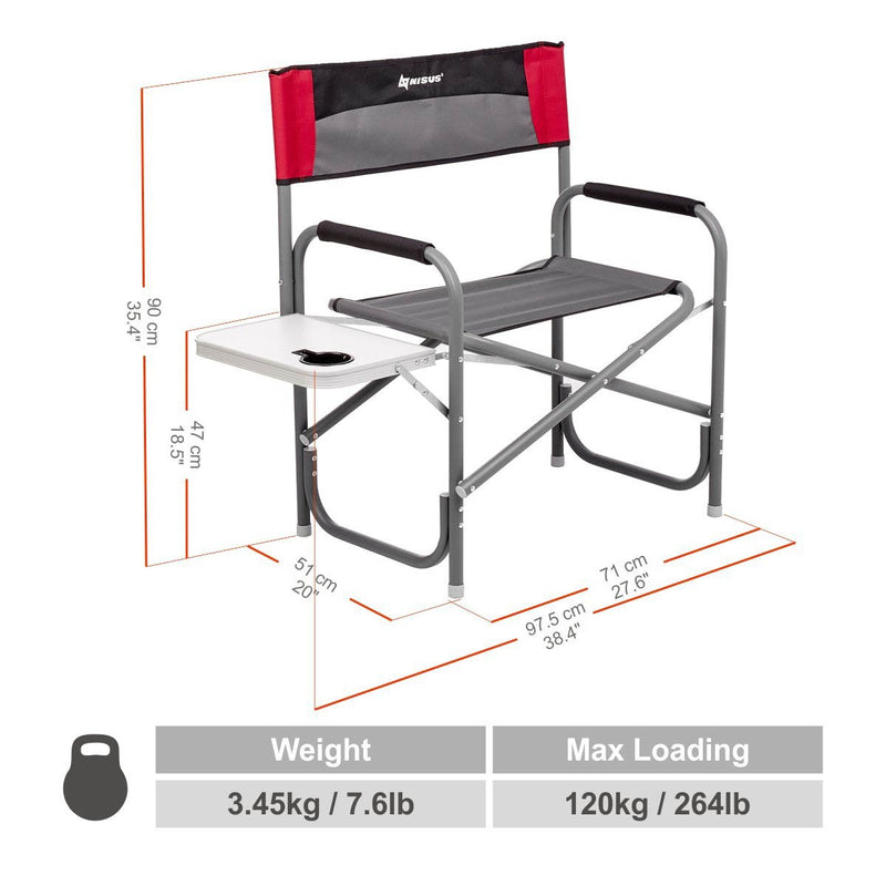 MAXI Folding Aluminum Outdoor Director's Armchair with Side Table for Camping, Backyard, Sports Events