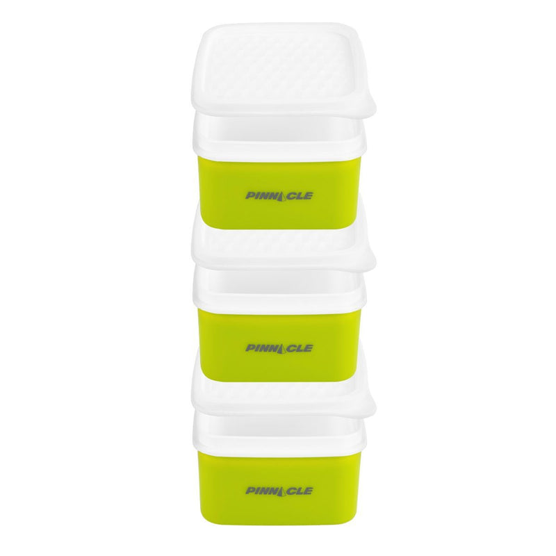 Paragone Compact Set of 3 Plastic Lunch Boxes with Bag, 8.5 oz Food Storage Containers, Lime Green