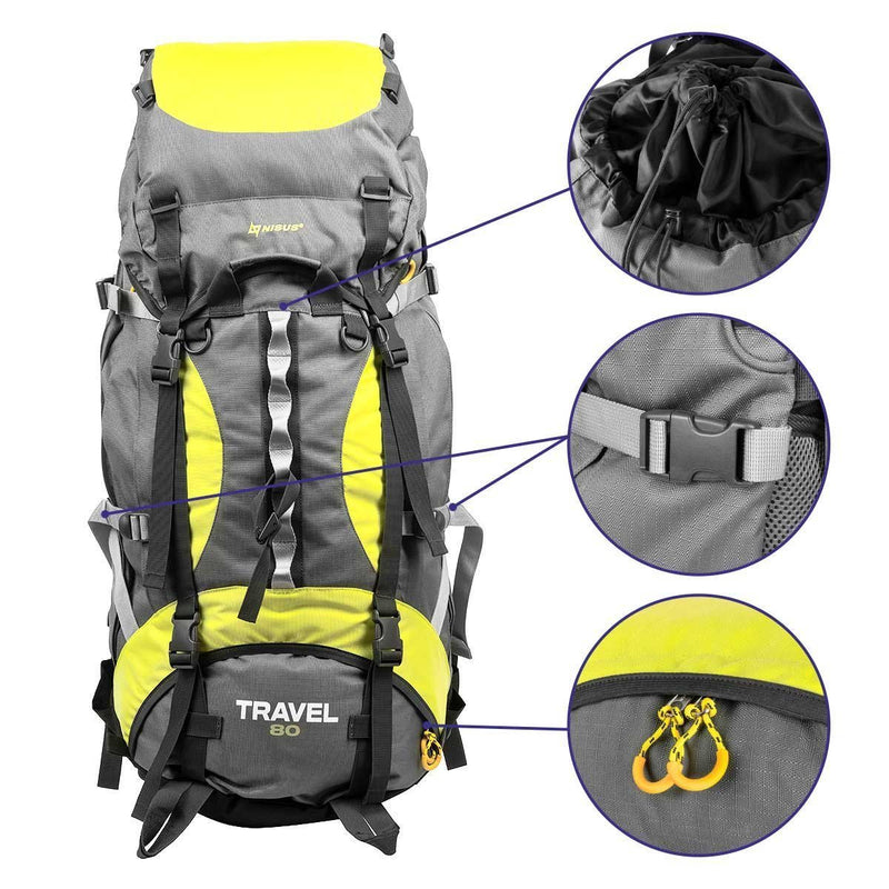 TRAVEL Lightweight Multi-Day Framed Backpacking Backpack, Waterproof Hiking Backpack, 80L