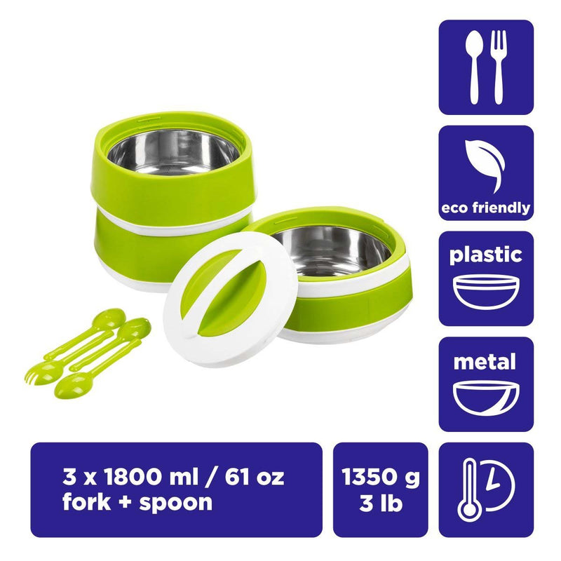Phoenix, 3 stackable plastic lunch containers (3x1.8 L) with stainless steel insulation