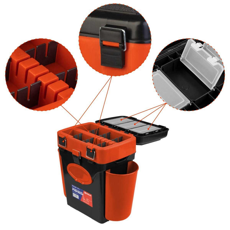 FishBox Ice Fishing Plastic Tackle Box with Seat, 2 Compartments, Green Orange Tackle Box, 10L