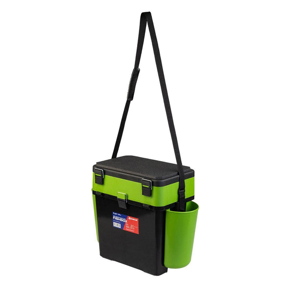 FishBox Large 19L Ice Fishing Storage Tackle Box, 2 Compartments, Plastic, Green / Orange