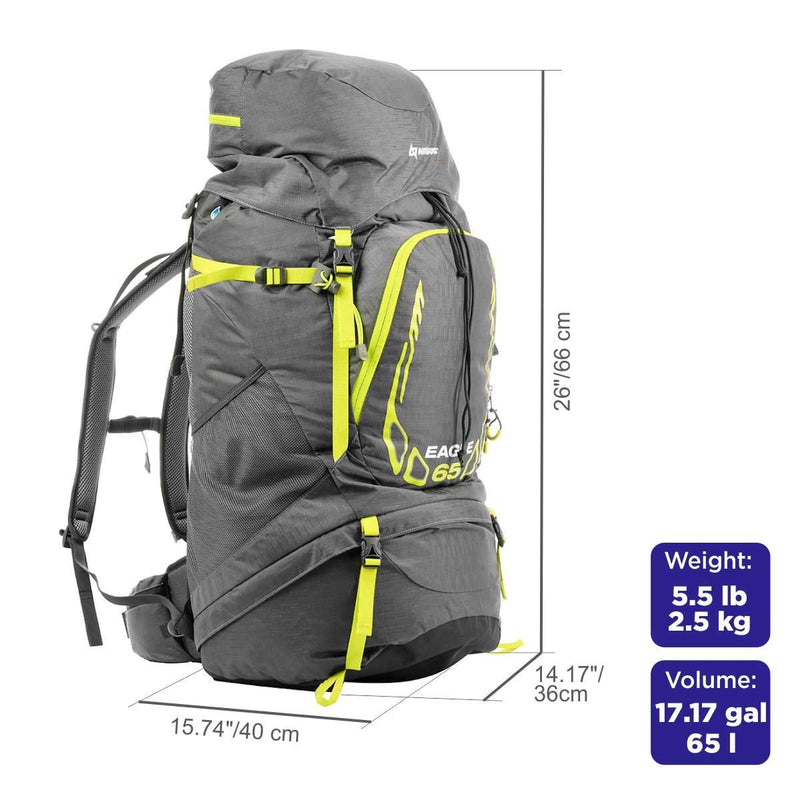 65L EAGLE Lightweight Framed Waterproof Backpack for Outdoor, Hiking with Rain Cover