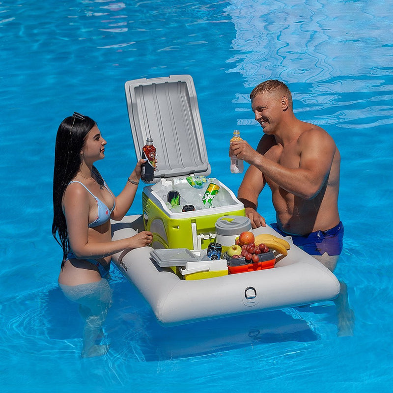 Inflatable Tray, Cooler Carrier with Dry Bag and Pump for Pool