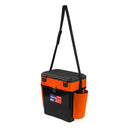 FishBox Large Ice Fishing Tackle Storage Box with Seat, 2 Compartments, Plastic Green Orange Tackle Box 19L