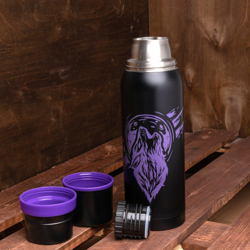 Big 40 oz Stainless Steel Vacuum Bottle, Two Plastic Cups, with Glowing in the Dark Picture