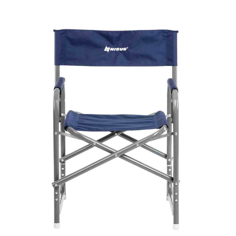Compact Blue Aluminum Folding Director's Armchair for Camping, Outdoor