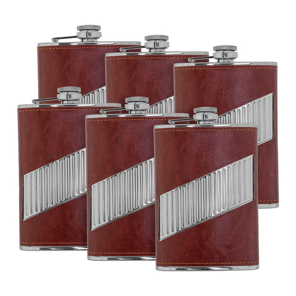 9 oz Maroon Stainless Steel Hip Flask for Liquor, Set of 6