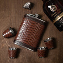 Stainless Steel Gift Set, 9 oz Brown Hip Flask and Shot Glasses