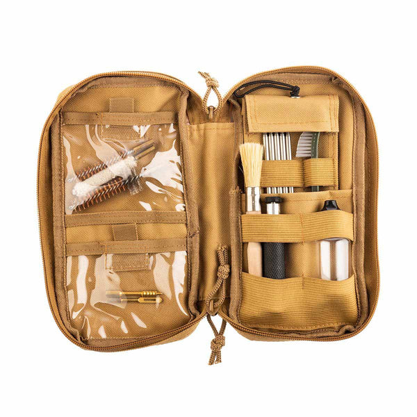 The kit includes: 2 pcs napkins, 3 models of built-up brushes for cleaning inside, oil for conservation , brush with handle, 5 pcs extension poles, double sided plastic brush, 2 pcs cleaning swab.