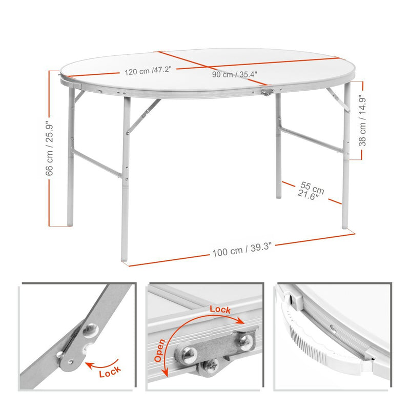 Compact Folding Oval White Aluminum Camping Table for Picnic