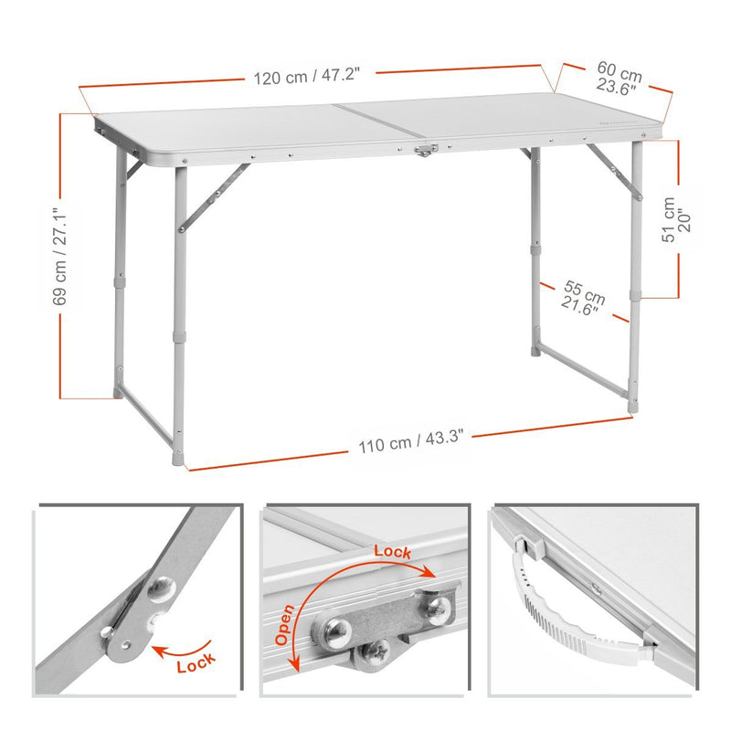 Portable Folding White Aluminum Camping Table for Picnic, Outdoor, Indoor
