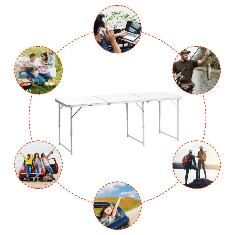 Three-Section Big Folding White Aluminum Camping Picnic Table