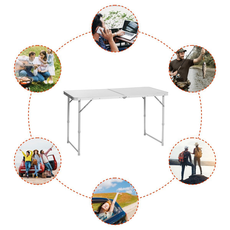 Portable Folding White Aluminium Camping Table for Picnic, Outdoor, Indoor