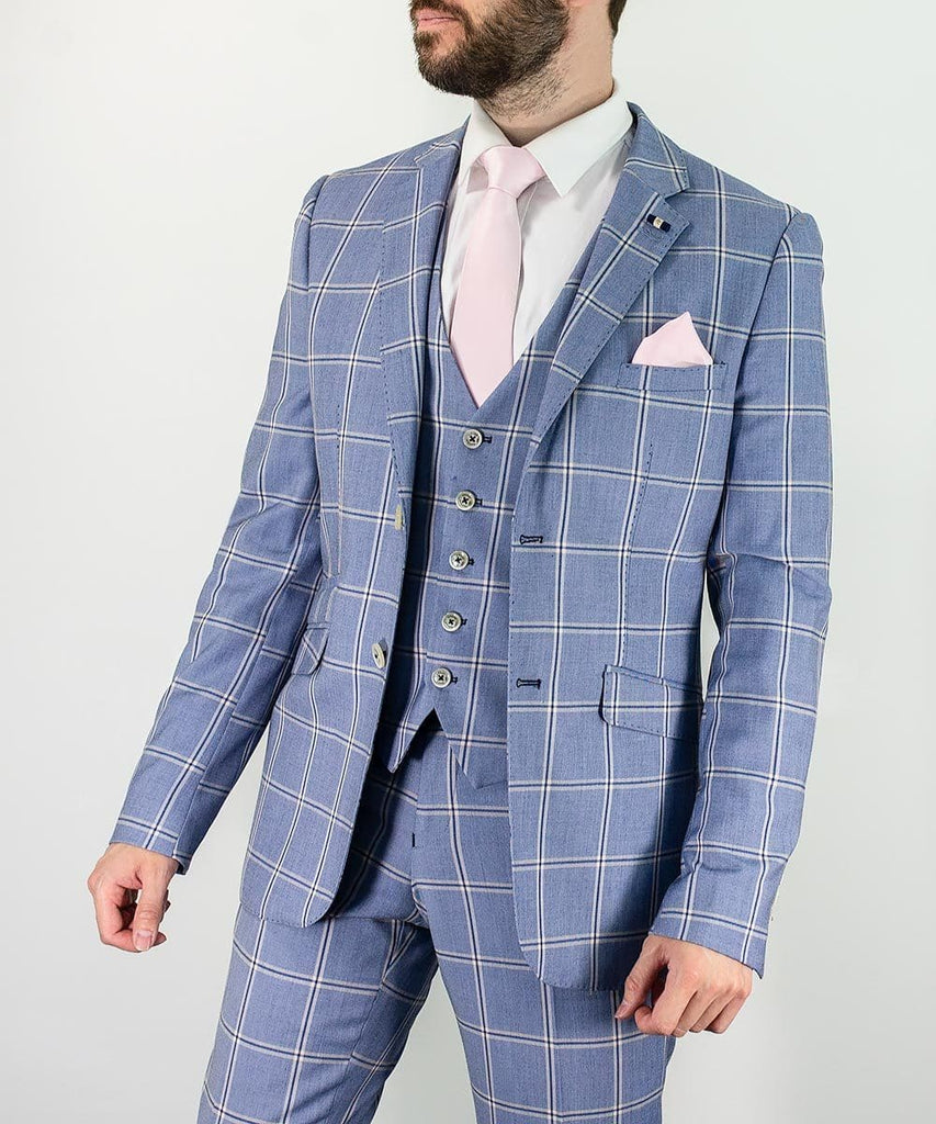 Blue Check Three Piece Slim Fit Suit Paradise by Cavani - 36R / 30R - Suit & Tailoring