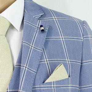 Cavani Paradise Blue Check 3 Piece Slim Fit Tweed Suit - Suit & Tailoring