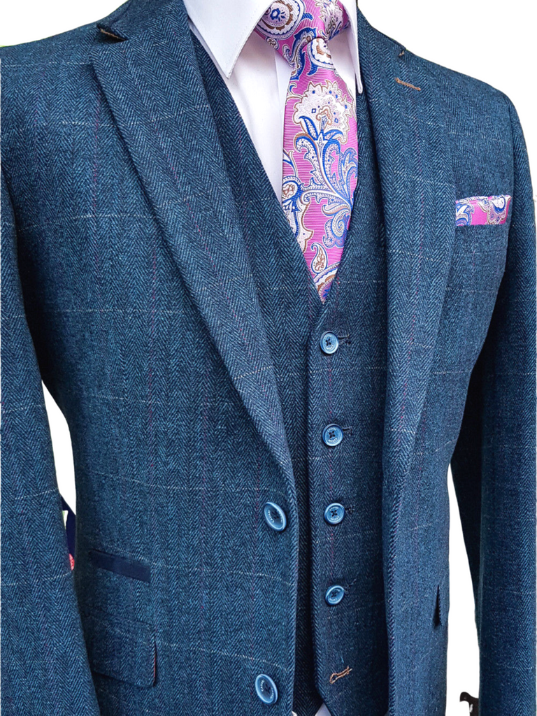 Blue Tweed Suit Three Piece Check Cavani Carnegi - 36R / 30R - Suit & Tailoring