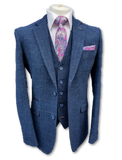 Cavani Carnegi Mens 3 Piece Blue Slim Fit Check Tweed Suit - Suit & Tailoring