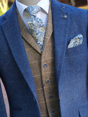 Blue Tweed Suit Three Piece Check Cavani Carnegi - Suit & Tailoring