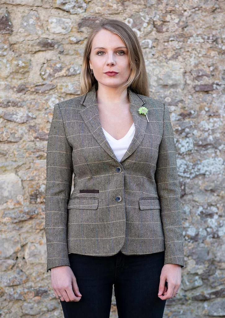 Cavani Albert Brown Womens Tweed Blazer - 34R - Suit & Tailoring