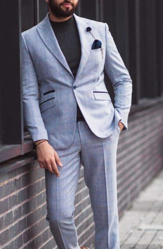 Cavani Caridi Mens Sky Blue 3 Piece Slim Fit Suit for Weddings and Race Days - Suit & Tailoring