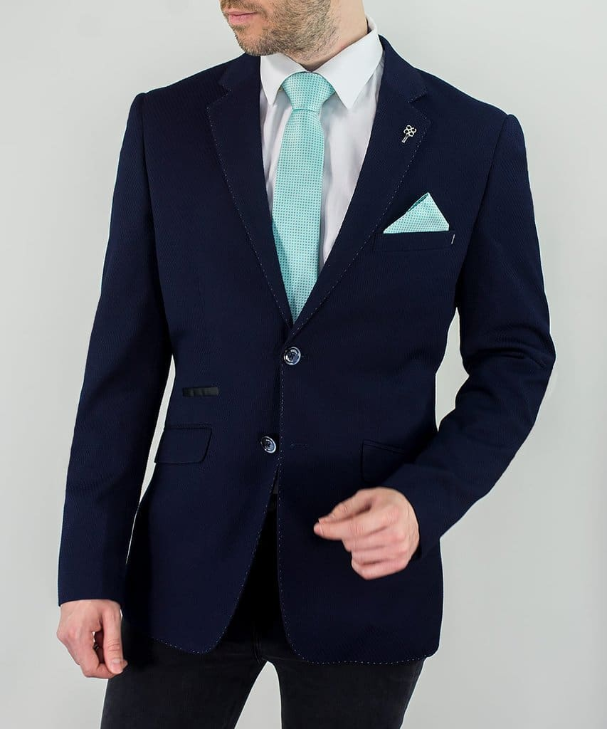 Cavani Cheevo Mens Navy Sim Fit Blazer - Suit & Tailoring