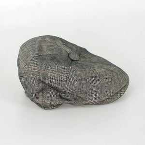 Cavani Connall Brown Check Baker Boy Flat Cap - Accessories