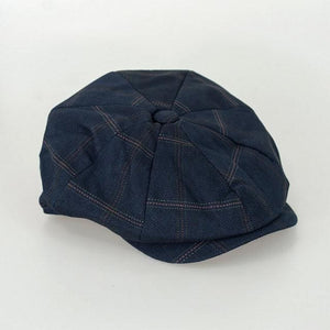 Cavani Connall Navy Check Baker Boy Flat Cap - Accessories