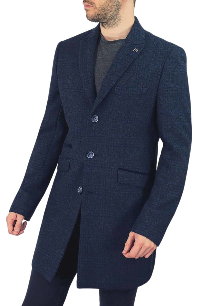 Cavani Danilo Men's Navy Check Wool Blend Overcoat - 36R - Coats