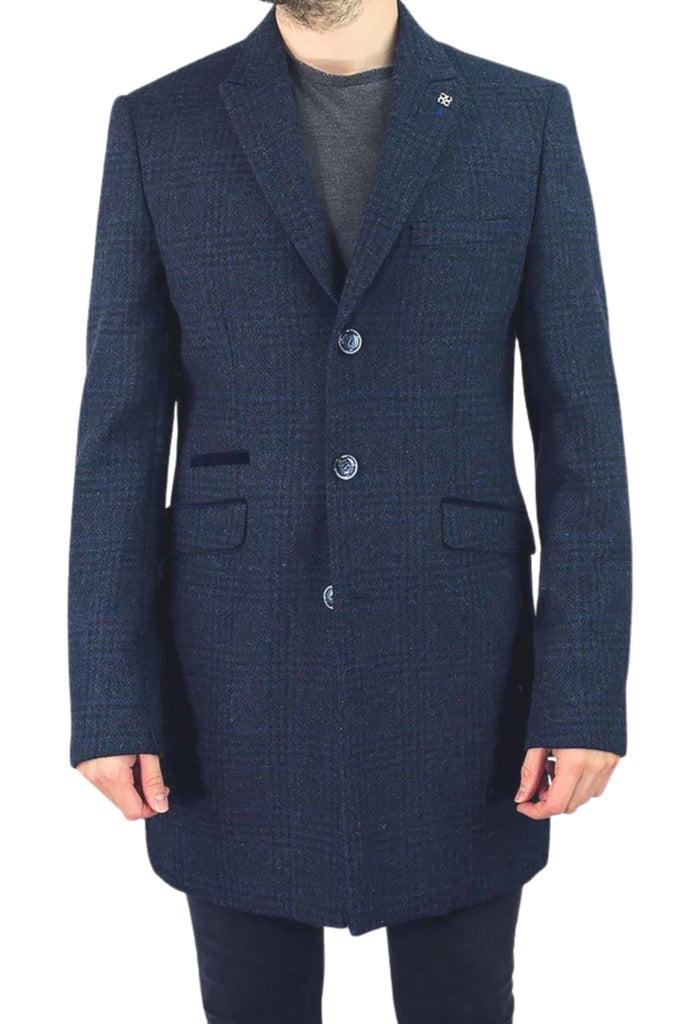 Cavani Danilo Men's Navy Check Wool Blend Overcoat - Coats
