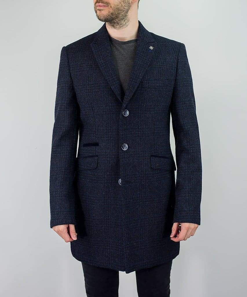 Cavani Danilo Mens Navy Check Wool Blend Overcoat - Coats