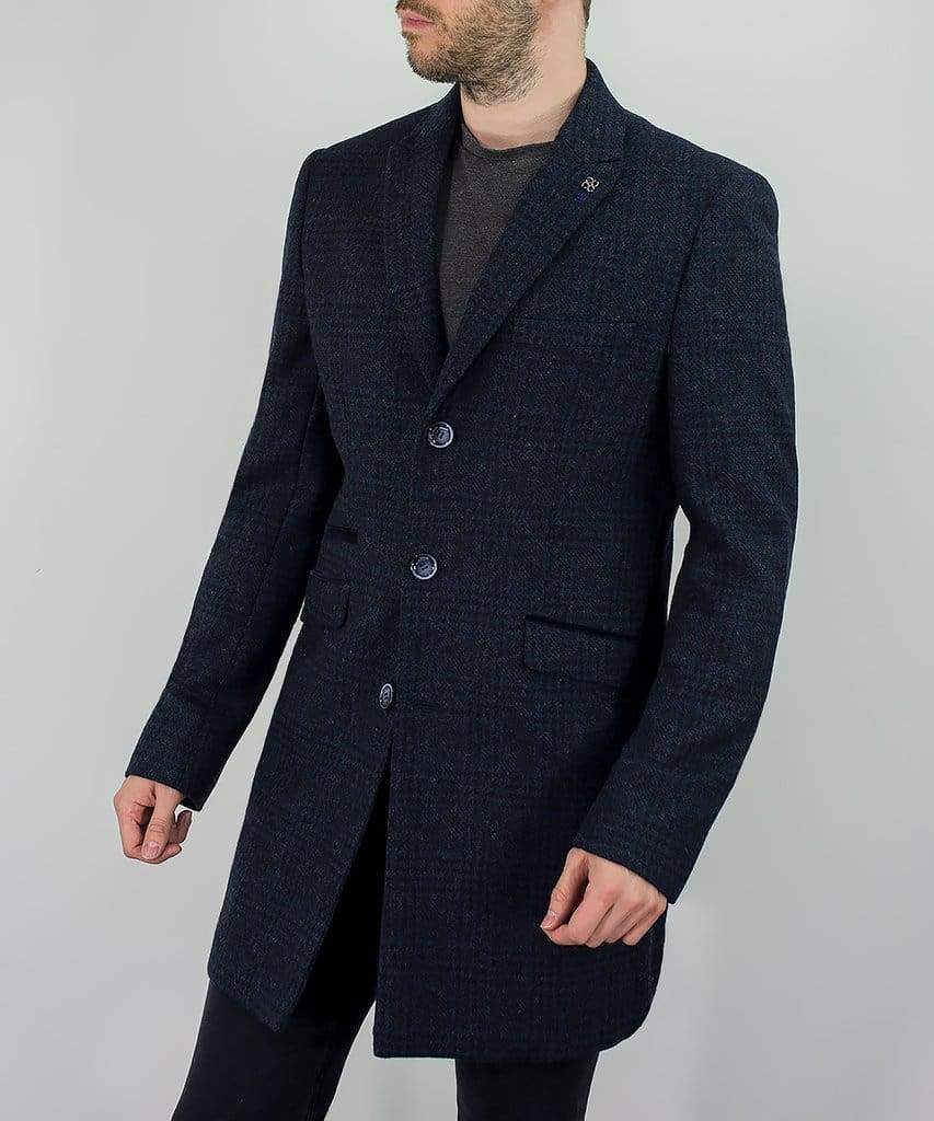 Cavani Danilo Mens Navy Check Wool Blend Overcoat - 36R - Coats