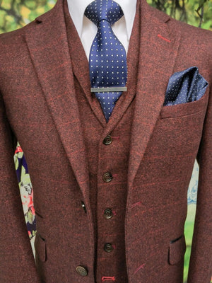 Cavani Draco Tweed Wine Mens Slim Fit Jacket - 36 - Suit & Tailoring