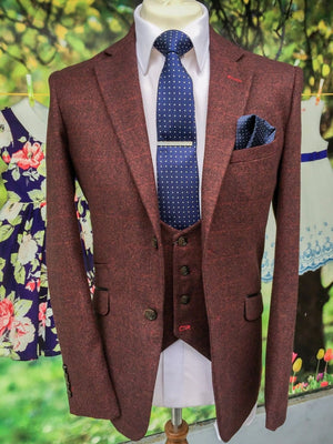 Cavani Draco Tweed Wine Mens Slim Fit Jacket - Suit & Tailoring