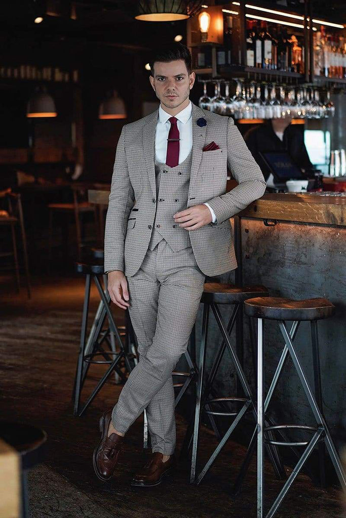 Cavani Elwood Grey Houndstoth Slim Fit Tweed Jacket - 34 - Suit & Tailoring