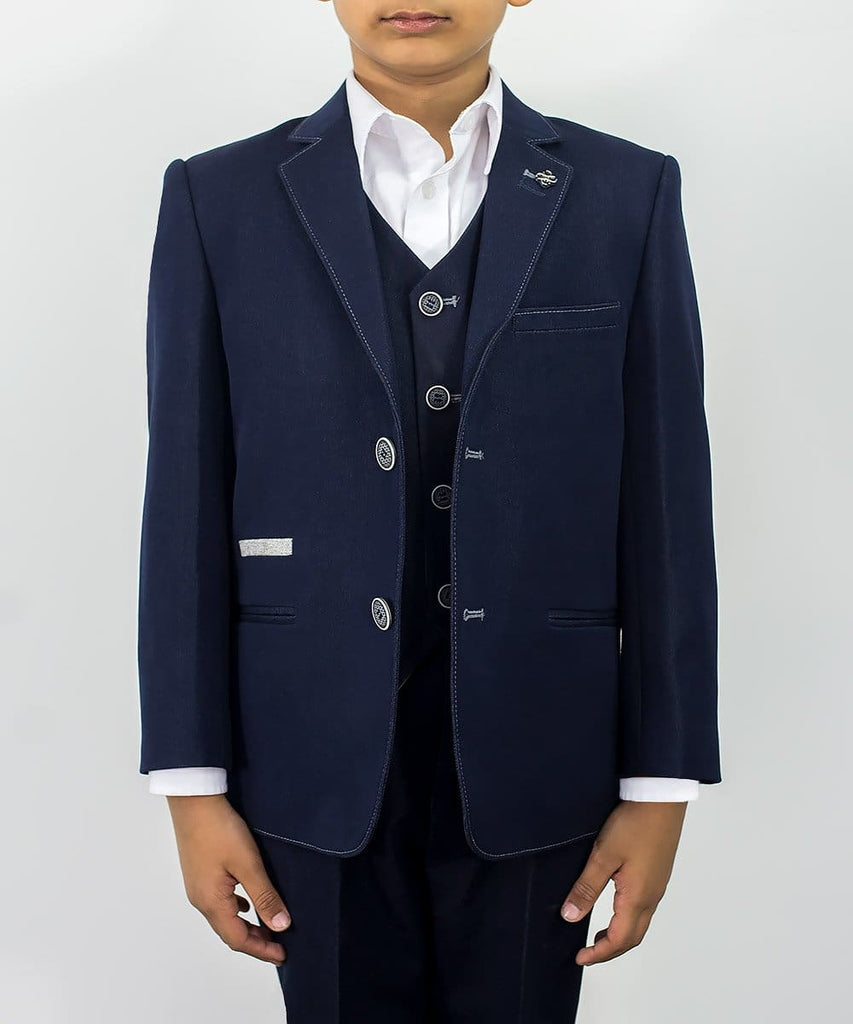 Cavani Fabian Boys Three Piece Navy Slim Fit Suit - 1 YEAR - Suit & Tailoring