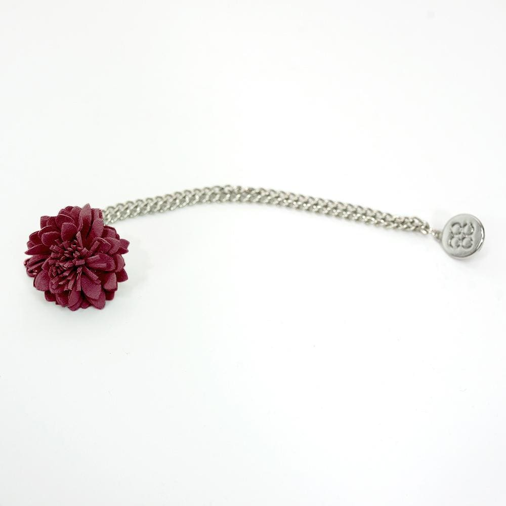 Cavani Flower Chain Pin Burgundy - Accessories