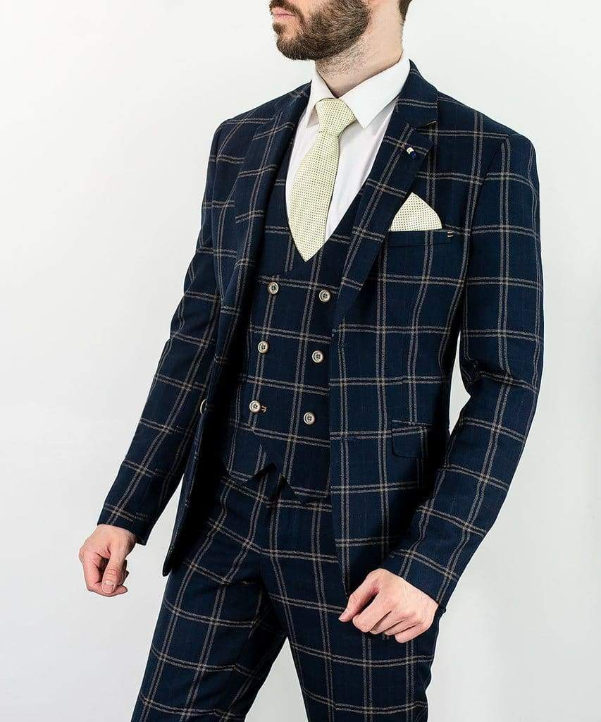 Cavani Hardy Mens Navy Checked Three Piece Suit - menswearr.com