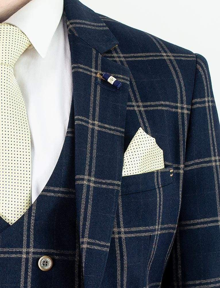Cavani Hardy Mens Navy Checked Three Piece Suit - Suit & Tailoring