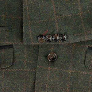 Cavani Kemson Olive Mens Slim Fit Tweed Jacket - Suit & Tailoring
