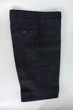 Cavani Kemson Tweed Navy Mens Slim Fit Trousers - 30R - Suit & Tailoring