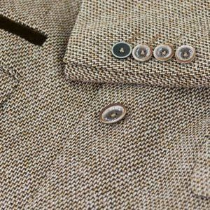 Cavani Lauren Tan Slim Fit Tweed Style Blazer - Suit & Tailoring