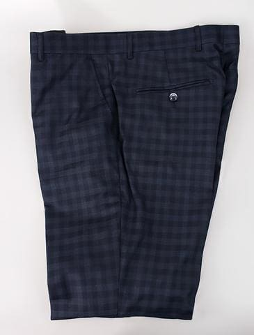 Cavani Malone Navy Check Trousers - 28R - Suit & Tailoring