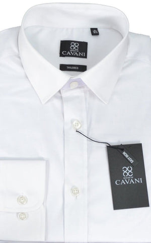 Cavani Mens Easy Iron Slim Fit White Shirt - UK 14.5 | EU 37 - Shirts