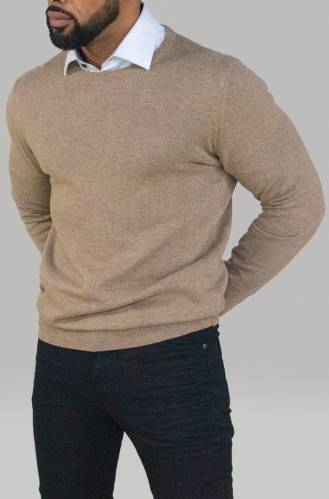 Cavani Men's Olive Crewneck Knit - Shirts