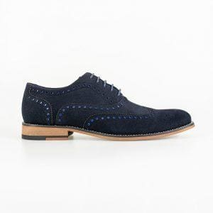 Cavani Mens Mortimer Navy Suede Brogue Shoes - Shoes